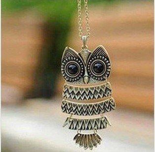 Lovely Bronze Textured Owl Pendant