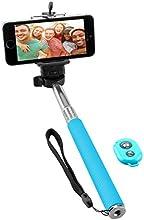 NINETEC Picturesmart Selfie Stick und Bluetooth Auslöser für IOS + Android Blau