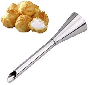 VNDEFUL 2PCS Cream Icing Piping Nozzle Tip Stainless Steel Nozzle Cream Puff Decor Small Pastry Icing Piping Tool