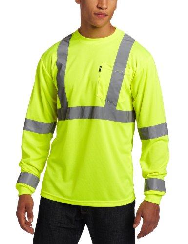 Key Apparel Men's Long Sleeve High Visibility Waffle Weave Reflective Stripe Pocket Tee Shirt, Hi-vis, XX-Large-Regular