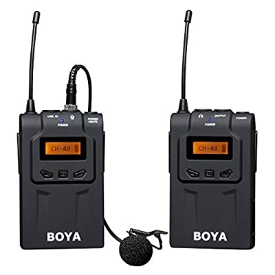 BOYA BY-WM6 UHF Professional Omni-Directional Lavalier Wireless Microphone Recorder System for ENG EFP DV DSLR Camera Camcorders+HuiHuang USB LED Free gift