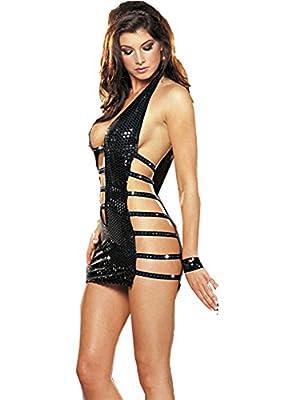 LOREMBELLE© Sexy Lingerie PVC Vinyl WetLook bondage stripe mini dress outfit