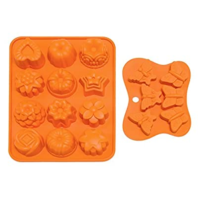 Boieo Non-stick Silicone Baking Mold for Cake, Candy, Chocolate, Jelly and Soad Making (Set of 2)