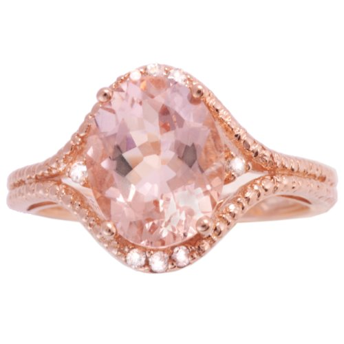 10k Rose Gold Morganite and Diamond Pave Ring