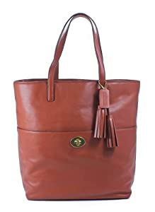 Coach Legacy Leather Turnlock Tote Cognac Brown Shoulder Bag by Coach