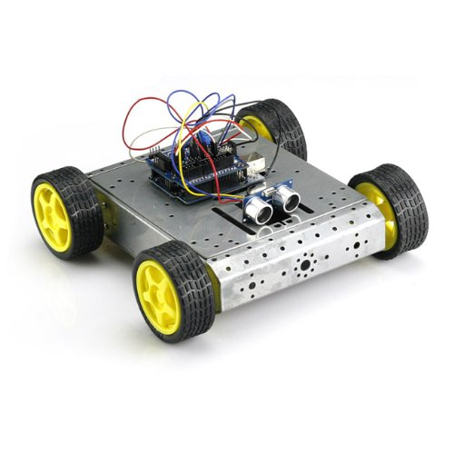 Sainsmart Mobile Car Kit With Sensor Shield V5 + 4Wd Mobile Platform + Dual H Bridge Stepper Motor Driver + Hc-Sr04 Ultrasonic Distance Sensor + Uno/Uno R3/Mega2560/Mega R3(Optional) For Arduino (Uno, Silver)
