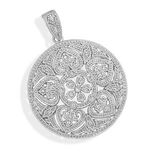 Rhodium Plated Pendant with CZs and Heart Design