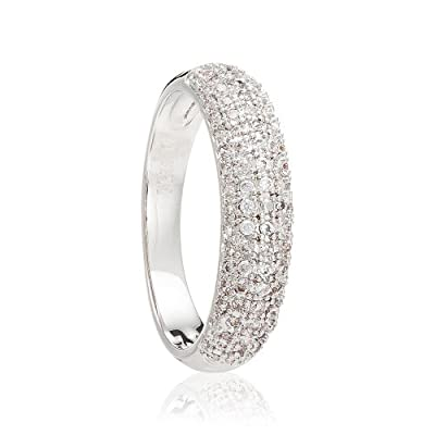 White Gold Plated 5mm Half Eternity Simulated Diamonds Wedding Engagement Ladies Ring Band