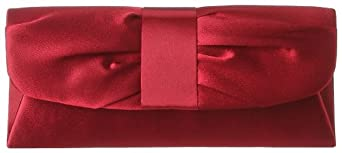 La Regale Shiny Satin Shirred 24103 Clutch,Burgundy,One Size