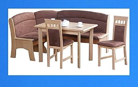3-3-2-2035: schöne Eckbankgruppe - Buche natur teilmassiv - mit ausziehbaren Tisch und 2 Stuhlen