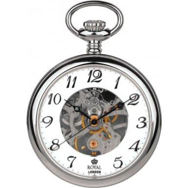 Royal London Pocket Watch 90002-01 Silver Tone Open Face