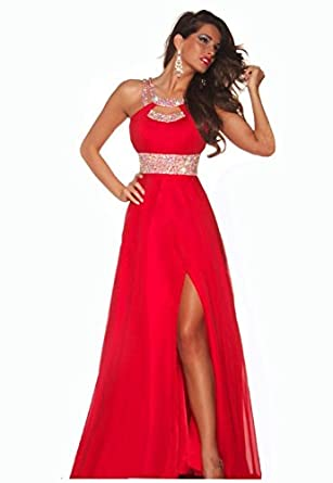 Formal Red Chiffon Evening Ball Cocktail Prom Dress Us12