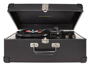 Crosley CR49-BK Traveler 3-Speed Turntable with Stereo Speakers and Adjustable Tone Control (Black)