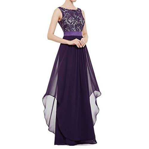CARVIAN Women's Sleeveless Lace Evening Bridesmaid Maxi Dress (Purple,S)