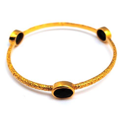 Designer Jewellery - Azuni Onyx & Gold Plated Bangle