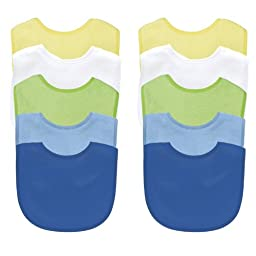 Green Sprouts Basic Waterproof Absorbent Terry Bib 10 Pack - Boy