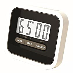 Preyank Solar Compact Lab & Kitchen Timer Stop Watch With Alarm, Large Digital LCD Display. With Table Stand & Fridge Magnet Black
