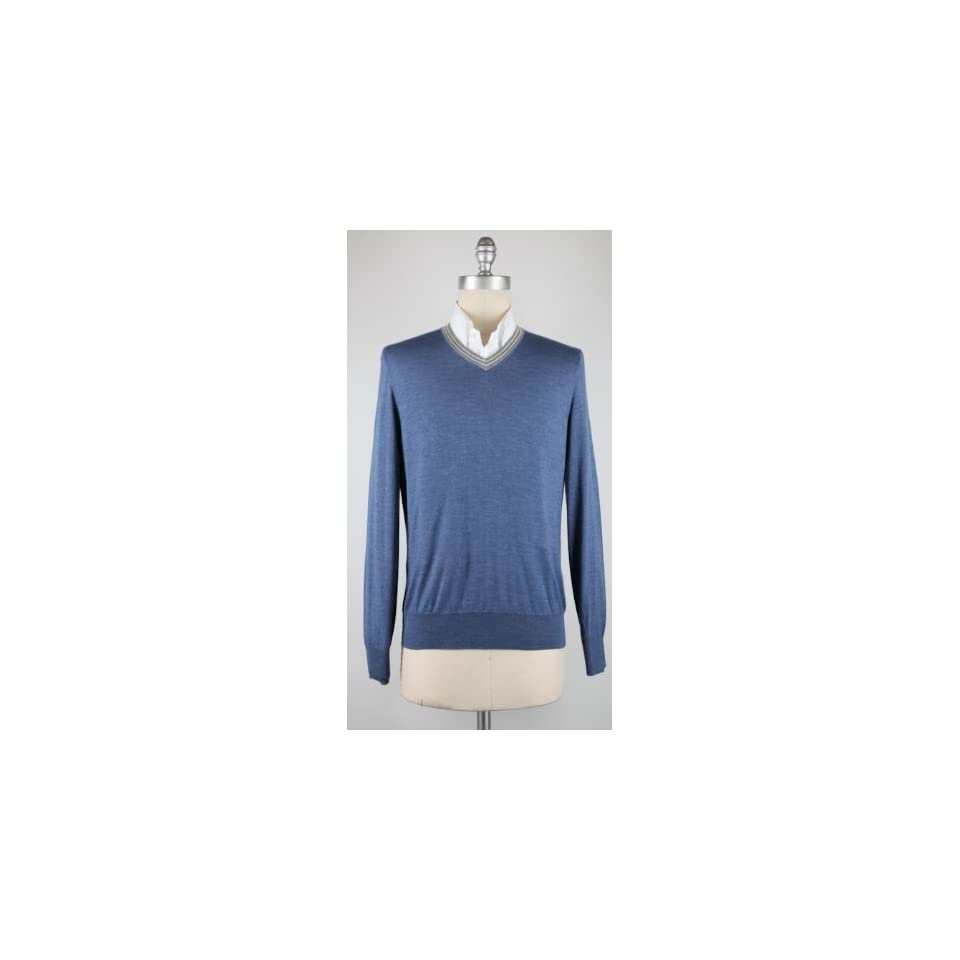 New Brunello Cucinelli Blue Sweater Small/48 Clothing