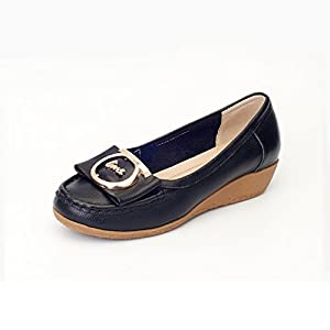 casual shoes round in the mouth/Shoes/Genuine leather soft soled shoes-C Foot length=24.3CM(9.6Inch)