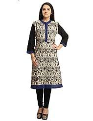 Designer Off White Black Printed Cotton Kurti For Women Free Size