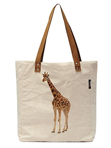 Vietsbay's Giraffe -1 Canvas Tote Bag with Leather Handles WAS_30 (Giraffe Garment Bag compare prices)