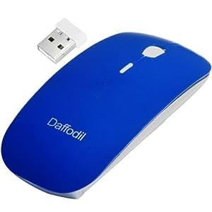 Daffodil WMS500L Souris sans fil 2,4GHz avec mini récepteur USB et DPI réglable, alimentée par 2 piles AAA (incluses) - Couleur Bleu