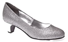 Womens Glitter PU Glit Pump Shoes (Silver/Size 8)