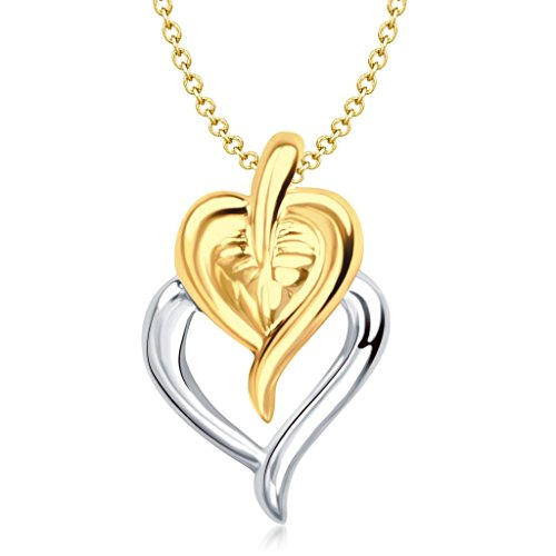 Vina Jewels Valentine Leaf & Heart Shape Gold and Rhodium plated Pendant for Girls - P1148G [VKP1148G]