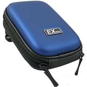 Ex-Pro Clam Sac / Caisse / Housse appareil photo - BLUE - pour Vivitar appareil photo - coquille dure enseignée la finition, doux à l'intérieur pour la protection, inclut la courroie d'épaule, En français l'agrafe de ceinture pour facile portent, Dimensions : (Intérieur) 100m x 70mm x 30mm, (Extérieur) 120mm x 90mm x 40mm