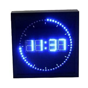 Digital Uhr LED blau Gehäuse Metall schwarz Design