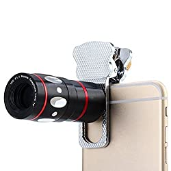 Universal 4 in 1 Lens Camera Phone Lens Kit 10X Optical Zoom Telescope Lens + Clip on Fish Eye Lens + 2 in 1 Macro Lens + Wide Angle Lens for Smart Phones (Silver)