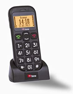 TTfone Jupiter Black - Big Button Easy to use Senior Sim Free Unlocked Mobile Phone with SOS Panic Button, Talking numbers, a Large easy to read display and a free docking station for charging