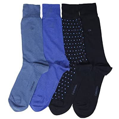 Calvin Klein Men's Casual Dot Crew Socks- 4 Pack
