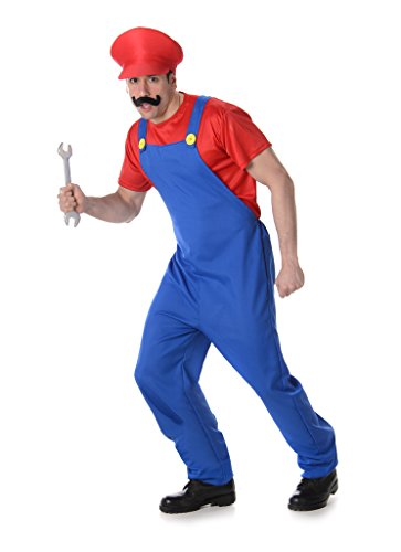 [Men's Plumber (RED) - Halloween Costume (L)] (1980s Movie Character Costumes)