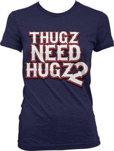 Thugz Need Hugz 2 Ladies Junior Fit T-Shirt, Hilarious Thugs Need Hugs Too Design Junior'S Tee