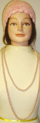 One Strand Light Pink Simulated Pearl Very Long Chain Necklace Shown As Two Strand Necklace Offered with Hand Crocheted Pink and Natural Chenille Tweed Skull Cap