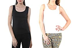 Lady Heart Women's Black & White Cotton Regular Strap Tank Top Camisole Free Size - S / M / L . Pack Combo of 2