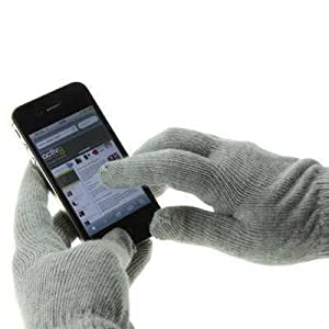 Tech Touch Gloves With Silver Coated Nylon Fibre Tips for iPhone 5 / 5S / 5C / 4S / 4 - Galaxy S5/ S5 Mini S4 / S4 Mini, HTC ONE M8, M7, Xperia Z2,Z1 All Smartphones / Tablets With Touchscreens (Grey)