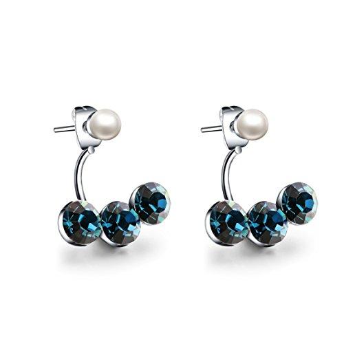 Swarovski Elements Orecchini in cristallo naturale perla d'acqua diamante della orecchini