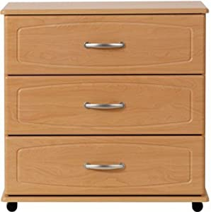 Beech 3 drawer chest of drawers ready assembled richmond for Ready assembled bedroom furniture