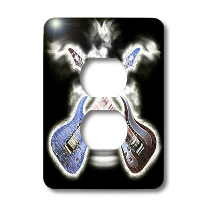 Lsp_109215_6 Florene Music - 2 Wild Electric Guitars - Light Switch Covers - 2 Plug Outlet Cover