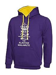 Keep Calm And Walk The Alaskan Malamute Dog Purple Contrast Hoody