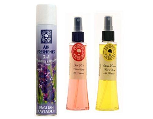 Aromatree 2in1 English Lavender Room Freshener 300 Ml And 2 Natural Air Freshener(tea Rose 75 Ml, Citrus Lemon 75 Ml) Pack Of 3 Image