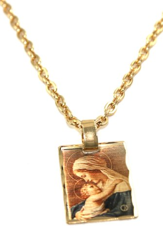 Beautiful 24k Gold Layered GL Spiritual Mary Holding Baby Jesus Laser Charm Necklace - 18