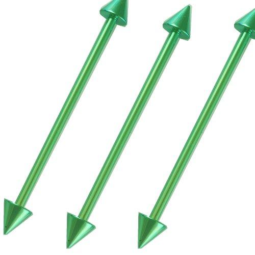 14g 14 gauge 1.6mm 34mm Green Anodized steel Industrial barbells Bars ear plugs rings bar AIJV Jewellery Body Piercing 3Pcs