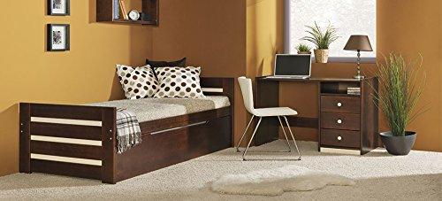 Doppelbett aus Kieferholz Modell DIEGO,inkl.Lattenrost, Massivholz ohne Matratze (kiefer in Farbe nuss)