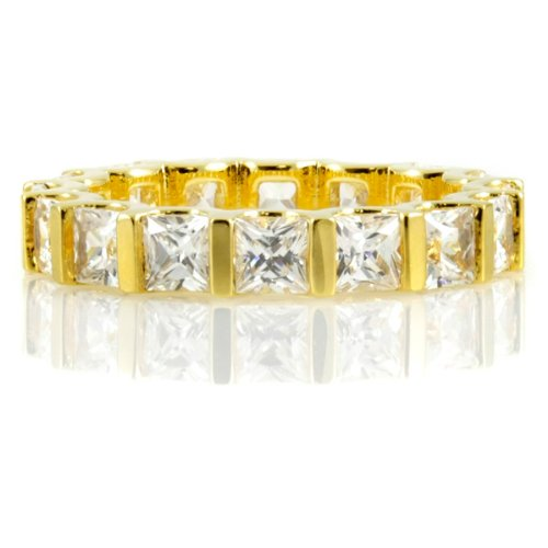 Terri's Princess Cut CZ Eternity Band - Gold Vermeil 14k Plated .925 sterling silver jewelry, rhodium electroplated Size 9