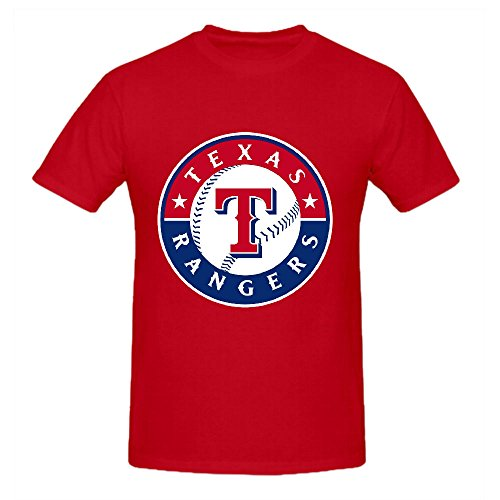 Texas Rangers Crew Neck MLB Authentic Logo T Shirts 100 Cotton Red