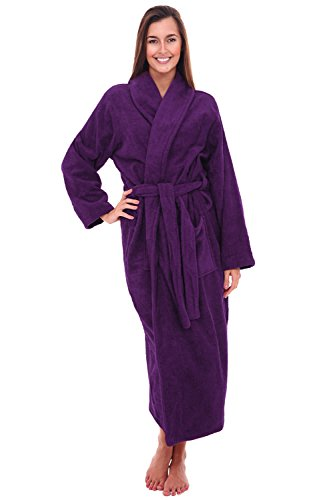 Del Rossa Women's Turkish Terry Cloth Robe, Long Cotton Bathrobe