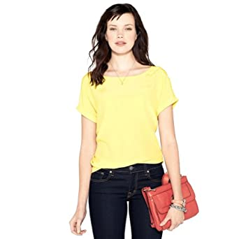 FOSSIL Gina Silk Shirt Color: Citrus